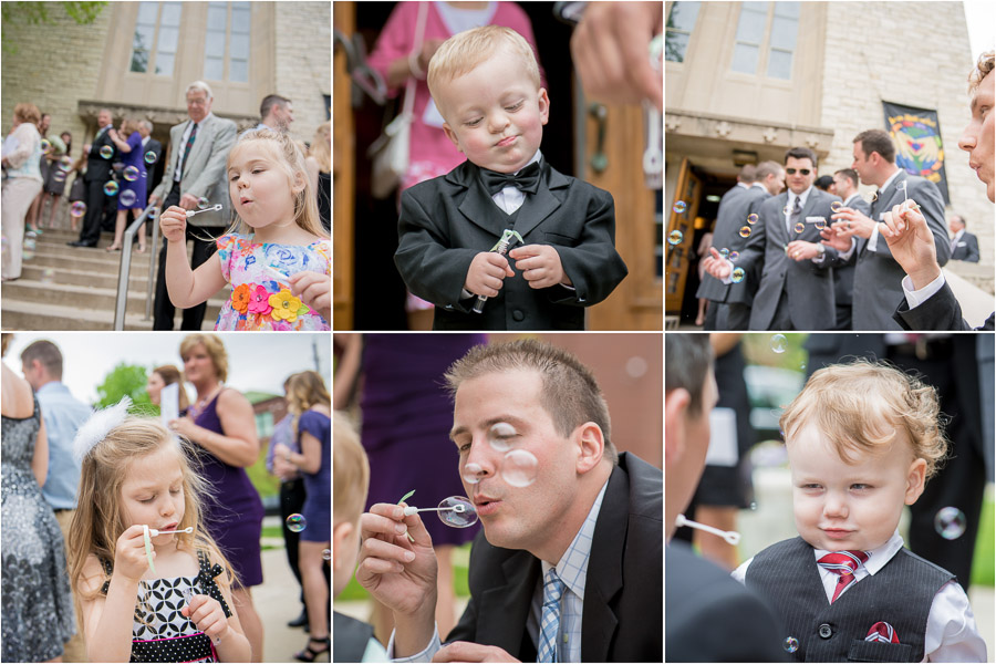 Fun, vibrant wedding images of bubble exit at Indianapolis Indiana wedding