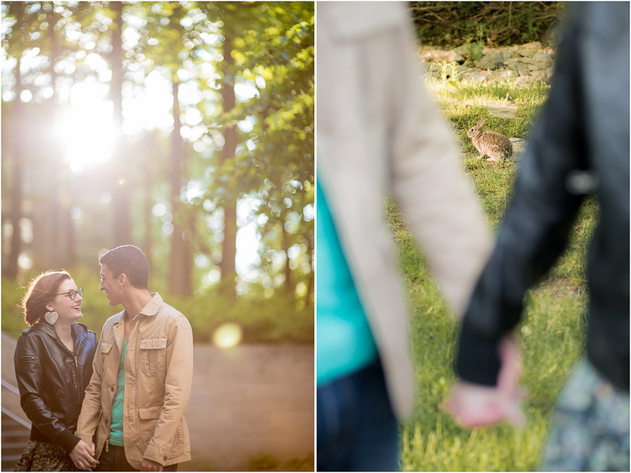 Sunny, whimsical wedding engagement photography on Indiana University campus