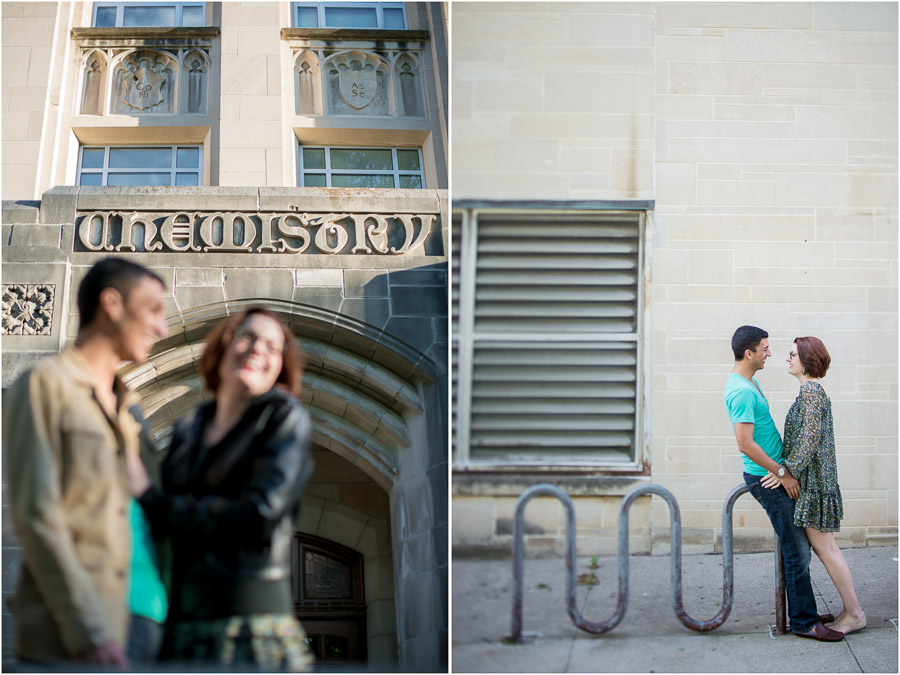 Funny, quirky, cute wedding engagement photos at Indiana University