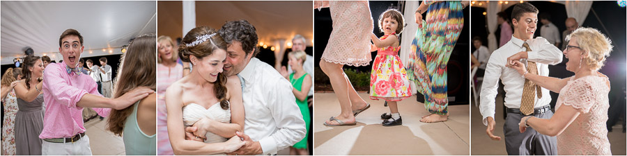 photos of fun times on dance floor at southern east coast wedding