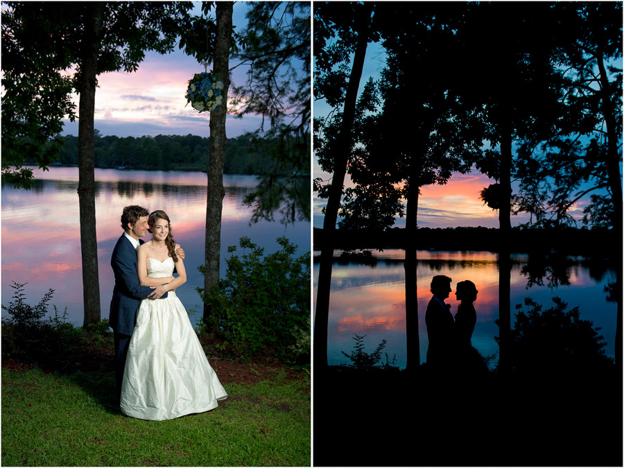 dramatic, lovely, creative wedding photos of bride and groom at sunset