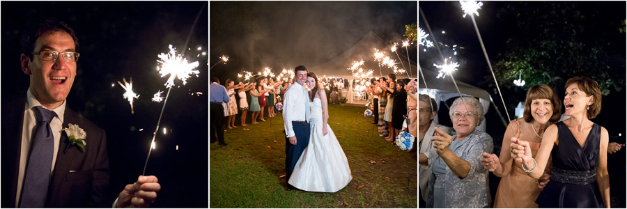 dramatic, casual, and easy-going wedding couple sparkler exit