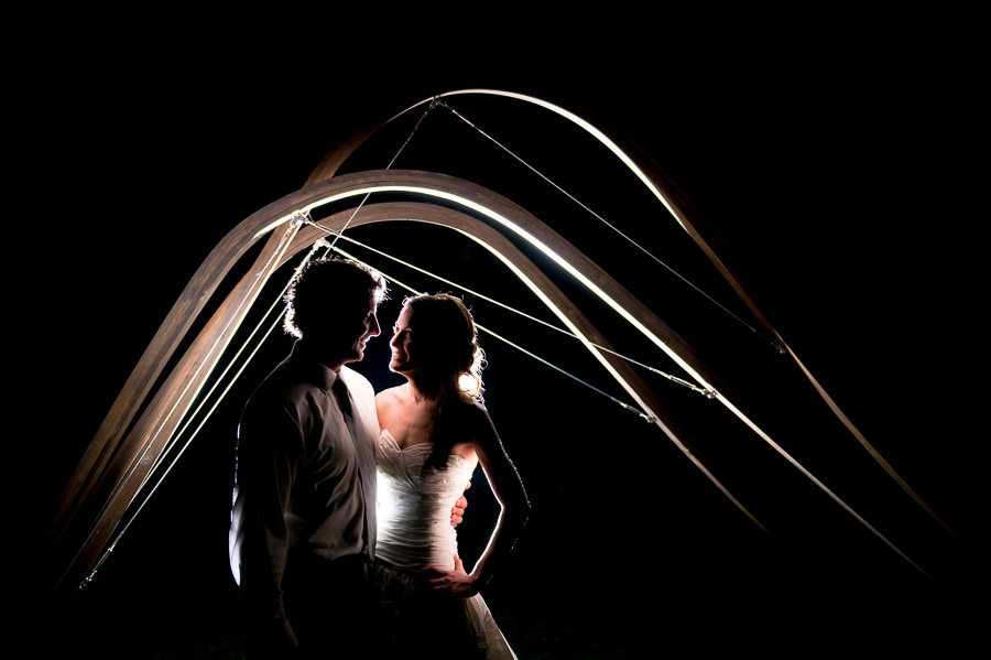 quirky, architectural wedding portrait with DIY ceremony arch gable