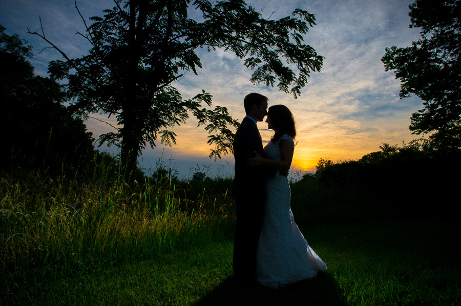 romantic, dramatic and creative sunset wedding portrait in Indianapolis, Indiana