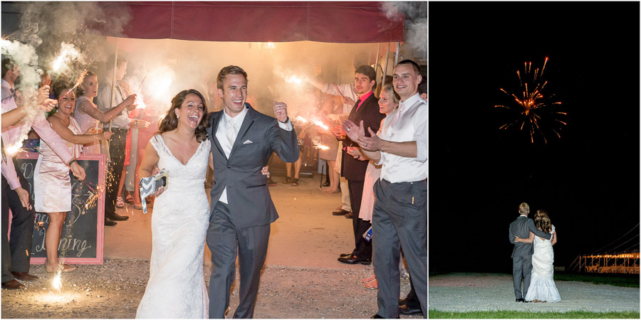fun, colorful, sparkler exit with fireworks at Indianapolis wedding photography