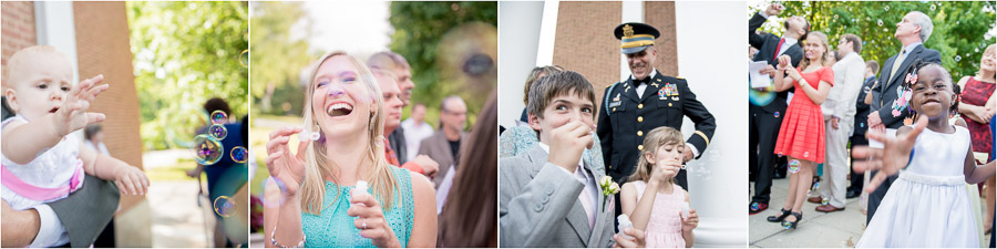 guests having fun during bubble exit at Indianapolis wedding