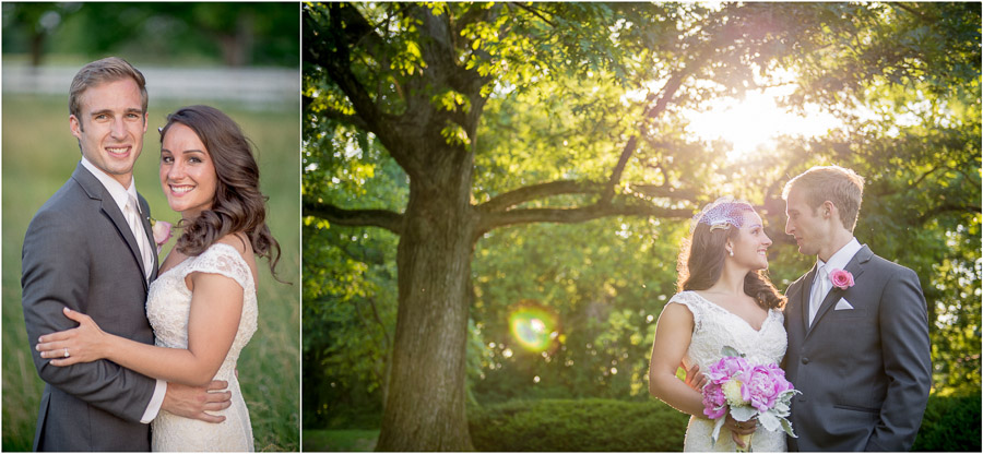 gorgeous, sunny summer photos of wedding couple on Butler campus