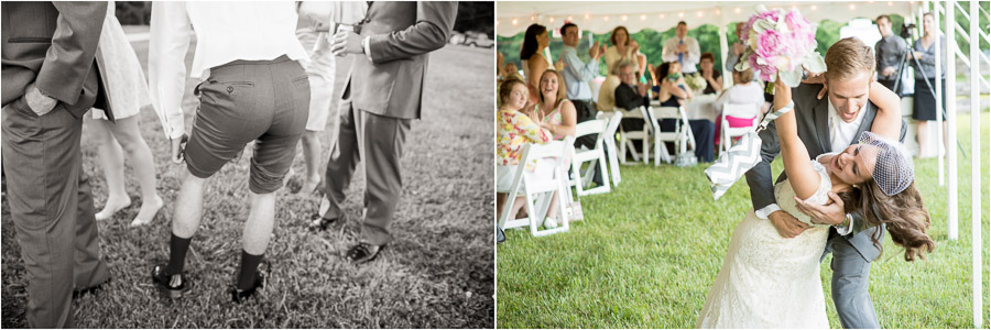 funny photos of moments of dance dip at wedding reception at Trader's Point Hunt Club