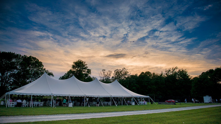 beautiful sky over tent at Trader's Point Hunt Club wedding in Zionsville