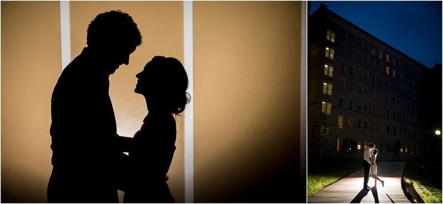 Dramatic and fun backlit nighttime wedding portraits