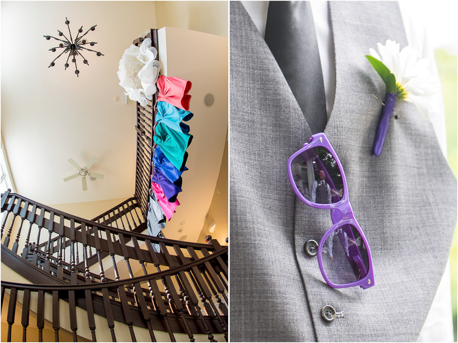 creative, colorful, dress photo and 80's sunglasses groomsmen photo