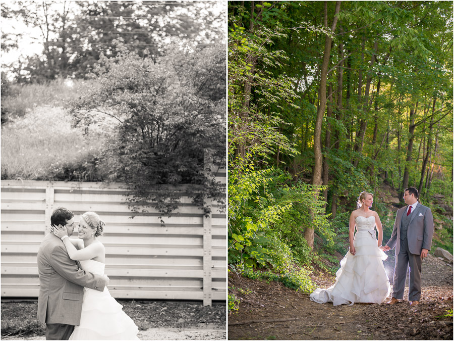 creative, beautiful wedding couple outdoor portraits at Upland Brewery in Bloomington Indiana