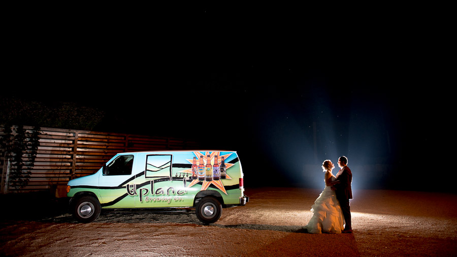 romantic, creative, unique wedding photo at Upland Brewery in Bloomington, Indiana