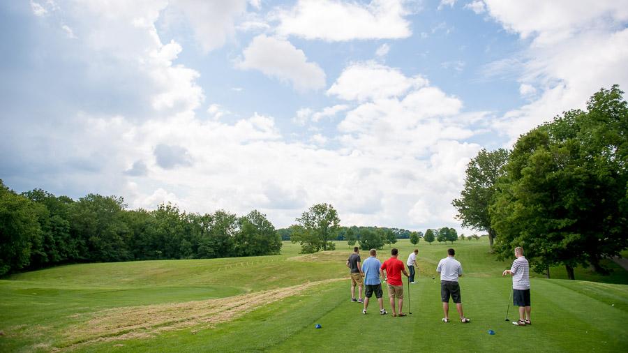 Groomsmen golfing at the IU golf course pre-wedding.