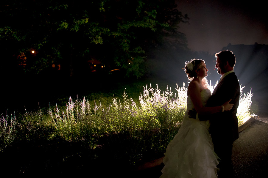 Nighttime wedding portrait Bloomington, Indiana