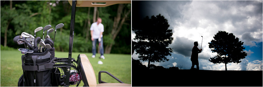Groomsmen golfing pre-wedding in Bloomington at the IU Golf course