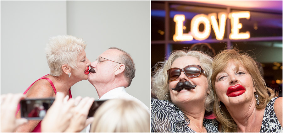 funny wedding reception moments with fake candy lips