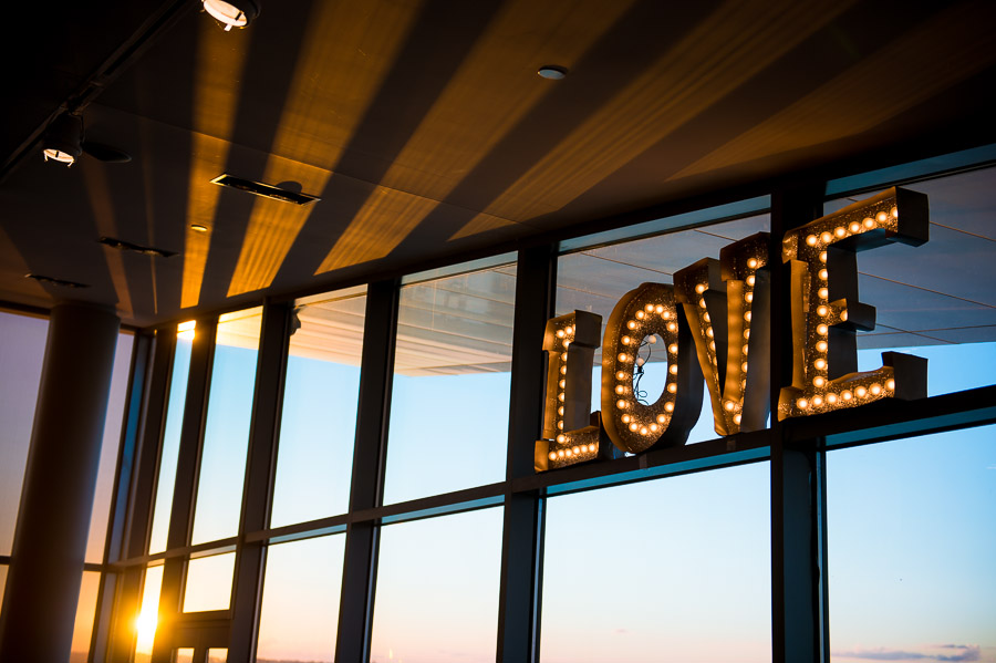 Awesome LOVE sign at sunset at louisville wedding