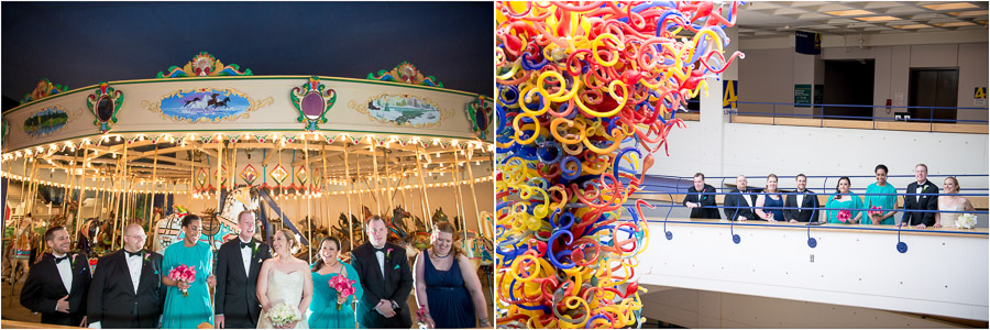 Bridal party photos at the Indianapolis Children's museum