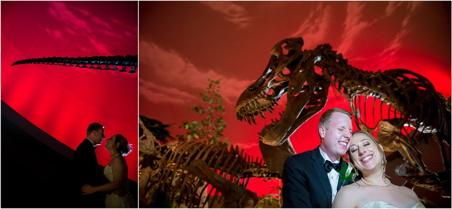 Wedding Photos in front of dinosaurs! (Indy Kids Museum)