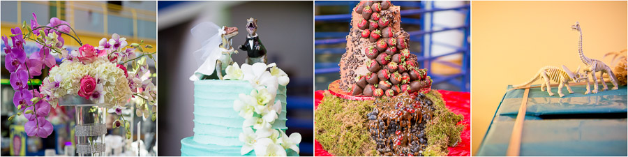 Amazing, fun, and colorful wedding details and cakes with dinosaurs at Indianapolis Children's Museum