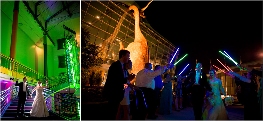 Fun lightsaber wedding exit at Indianapolis Children's Museum with a dinosaur behind!