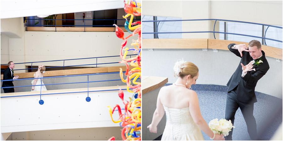 Awesome first look reaction by groom at Indy Children's Museum wedding