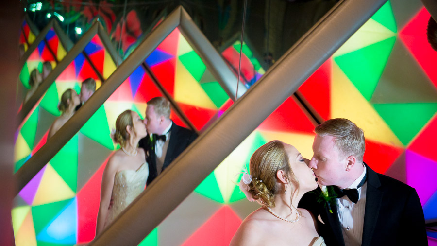 Awesome wedding portrait with mirrors and lots of colors