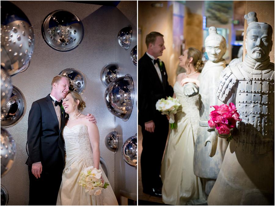 Funny wedding photos of bride and groom in children's museum