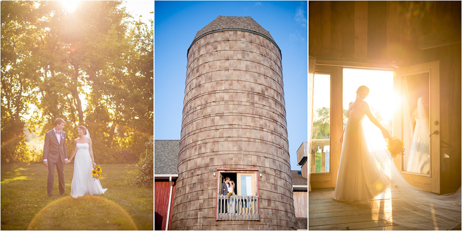 sweet, sunny, and romantic photos of wedding couple in orchard and in barn