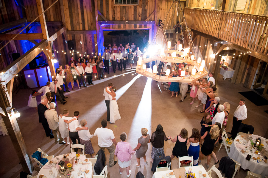 Fun, romantic first dance photo at barn wedding in Indiana