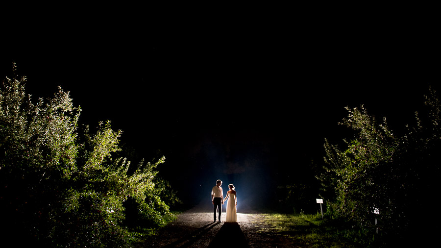 dramatic and epic nighttime wedding portrait in apple orchard in Indiana