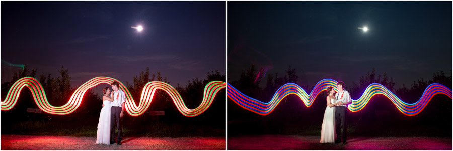 fun, colorful, nighttime, outdoor wedding portraits with light painting