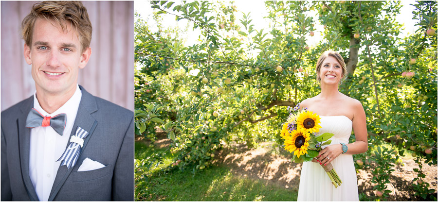 Bright, fun, happy, bridal portraits in apple orchard in Indiana