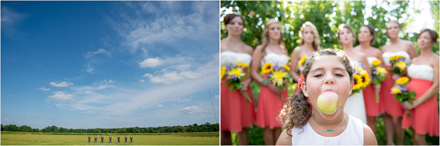 Unique, quirky, and fun wedding party photos in apple orchard in Indiana