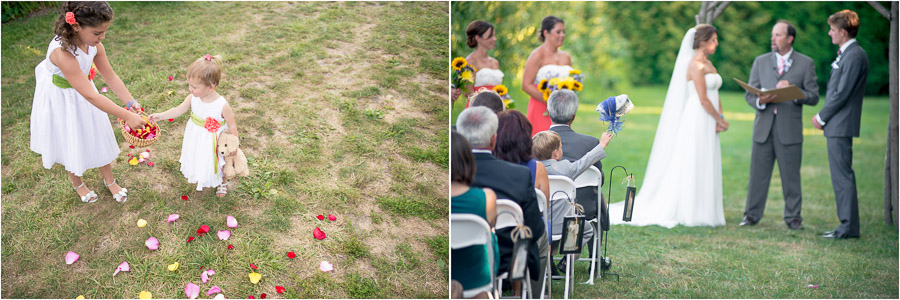 fun candid moments of kids during apple orchard wedding in Indiana