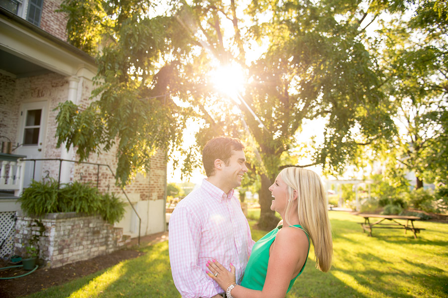 sunny, happy, backyard engagement photography in Harrisonburg Virginia