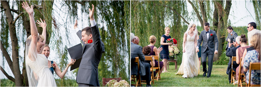 fun, happy, cheerful bride and groom during outdoor farm wedding ceremony