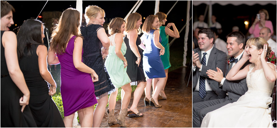 hilarious bridesmaid flashmob at Dull's Tree Farm wedding in Indiana