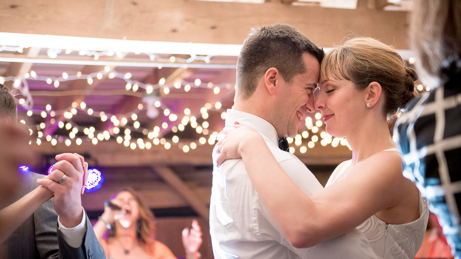 fun bride and groom dance photo at Dull's Tree Farm barn
