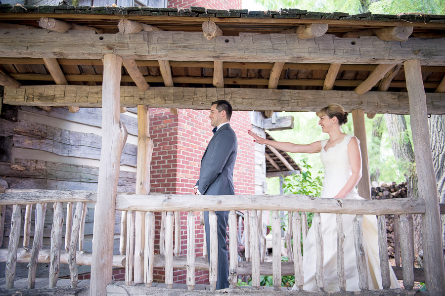 Sweet, romantic, rustic, first look at Dull's Tree Farm wedding in Indiana