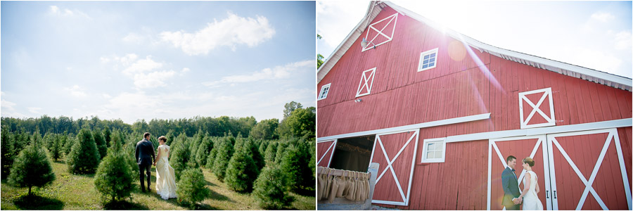 fun, dramatic, landscape, wedding portraits with barn and tree farm