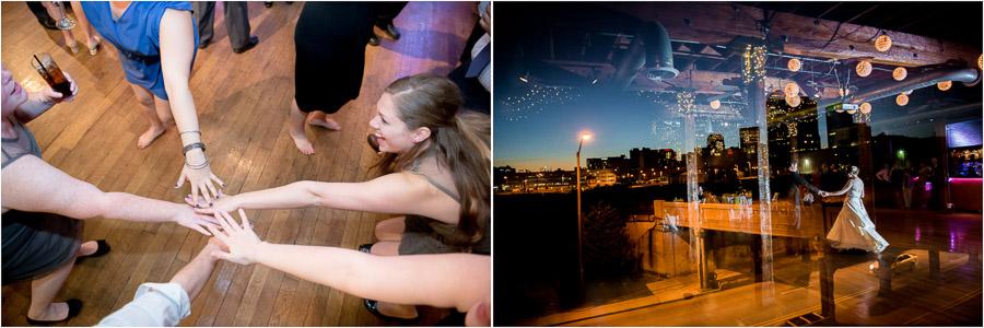 Fun, creative, quirky, unique dance photos at downtown Indy wedding