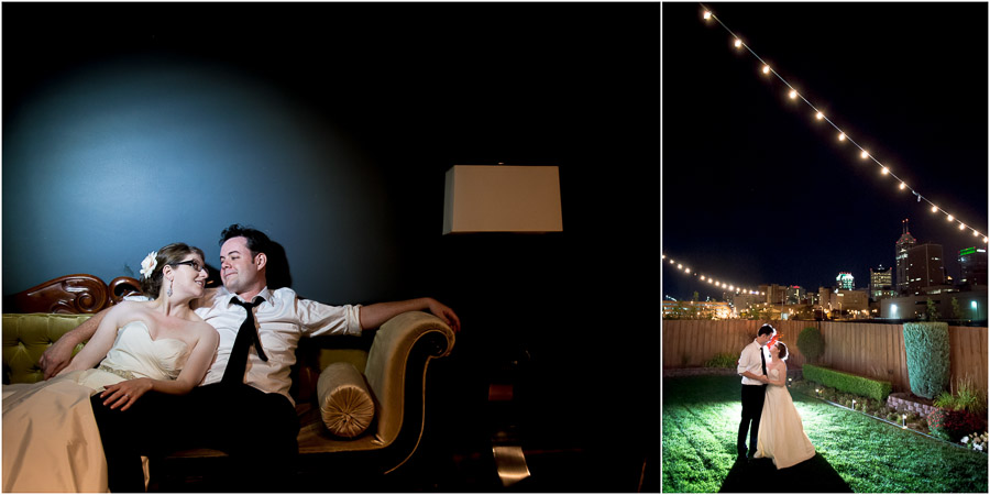 Creative, fun, nighttime portraits at downtown Indy wedding