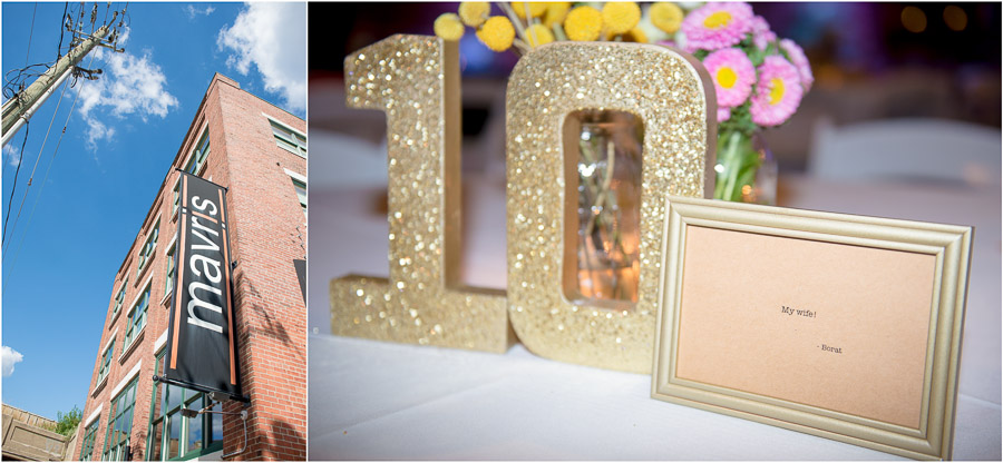 Hilarious and sparkly, glitter, Borat quotes table numbers and decor at Mavris Art Center wedding