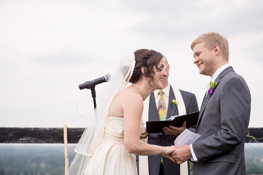 sweet, touching moment of bride and groom during Virginia winery ceremony