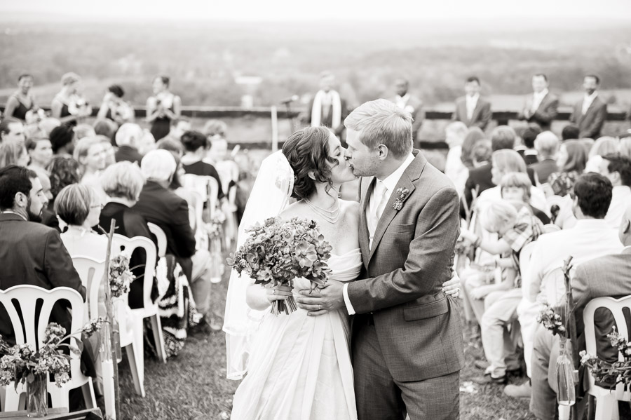 sweet, romantic, after ceremony photo at Bluemont Vineyard wedding