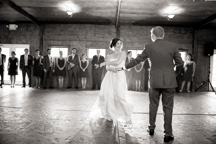 Fun, sweet, creative first dance photo at Bluemont Vineyard