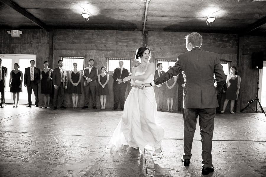 Fun, sweet, creative first dance photo at Bluemont Vineyard