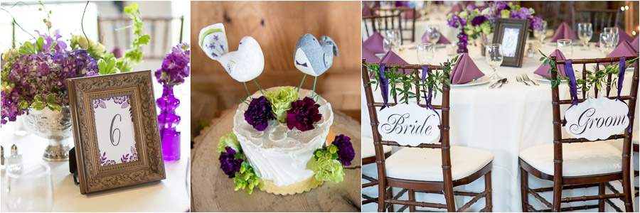 Fun, quirky, purple floral detail with birds at Bluemont Vineyard wedding